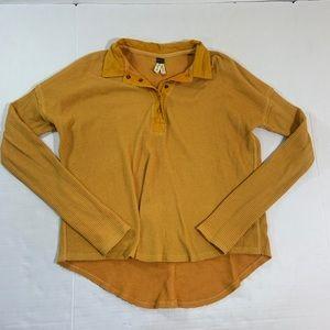 Free People Waffle Knit Henley Shirt BOHO S